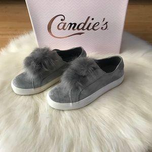 NIB Grey Pom Sneakers